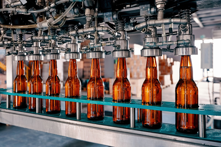 Image of bottles in a factory